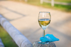 Abandoned wine glass at outdoor party Stock Images