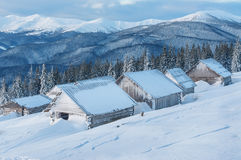 Abandoned winter cabins Royalty Free Stock Photo