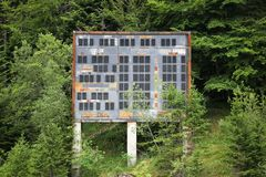 Abandoned winter olympic site at the ski jumping large hill in Saint-Nizier du Moucherotte, France Stock Images