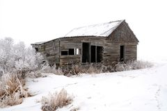 Abandoned Wood Farm Building in Winter Stock Images