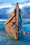 Abandoned Wood Fishing Boat Stock Photography
