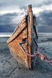 Abandoned wood fishing boat Stock Images