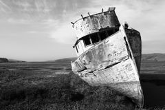 Abandoned Wooden Boat. Black and White. Royalty Free Stock Image