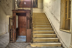 Abandoned wooden cage elevator Stock Photo