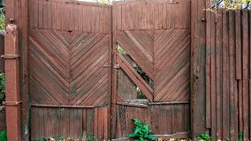 Abandoned wooden doors with a fence, rusty tree, broken boards, beautiful background of an abandoned old fence. royalty free stock image