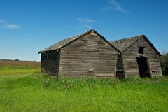 Abandoned wooden granaries in summer Stock Photos