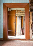 Abandoned wooden house interior Stock Photo