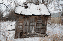 Abandoned wooden house in the winter Royalty Free Stock Photography