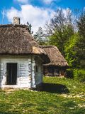 Abandoned wooden houses in the countryside stock images