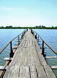 Abandoned wooden long bridge over the lake  Stock Photography