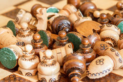 Abandoned Wooden Pieces Of Chess Royalty Free Stock Photography