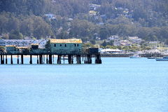 Abandoned wooden pier, Pillar Point Harbor, CA. Royalty Free Stock Photography