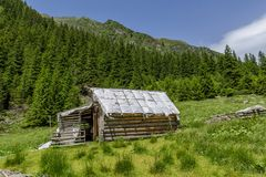 Abandoned wooden sheepfold in Carpathians mountains Royalty Free Stock Image