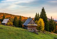 Abandoned woodshed in forest. Beautiful autumn landscape of Apuseni mountains. lovely nature scenery at sunset Stock Photos