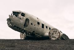 Abandoned wreck of crashed aircraft Stock Photo