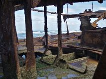 Abandoned wreck of the s.s. Maheno in Fraser Island in Australia stock photography
