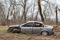 Abandoned, Wrecked Car. An abandoned car that was wrecked in an accident stock images