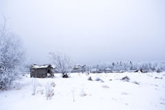 Abandoned yard site in winter landscape Royalty Free Stock Images