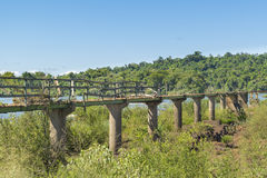 Abandonede Birdge at Parana River at Iguazu Falls Stock Photo
