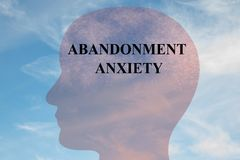 ABANDONMENT ANXIETY concept. Render illustration of ABANDONMENT ANXIETY title on head silhouette, with cloudy sky as a background vector illustration