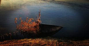 Abandonned. Bord, lac, water, brown stock photography