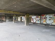 Abandonned building. Graffiti on wall of an empty abandonned building stock photography