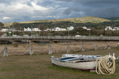 Abandonned fishing boat. With rope and scenic view of village of Mont Ste-Anne, Quebec, Canada stock image
