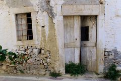 Abandoned house. Exterior of an abandoned stone house on the island of Crete in the town of Piskopiano stock photography
