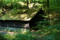 Abandonned house in the forest of Kocevski rog. Slovenia royalty free stock photo