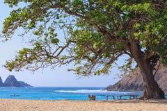 Abandonnez la plage blanche de sable sur la baie Mawun d'océan dans Lombok Images stock
