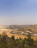 Abandonnez la région de la Cisjordanie et les villes et les villages palestiniens derrière le mur de séparation de la Cisjordanie Photos stock