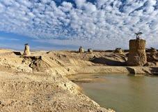 Abandonnez la vallée après pluie, Eilat, Israël Photographie stock