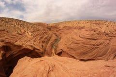 Abandonnez la vue de la sortie inférieure de canyon d'antilope, Arizona, Etats-Unis Photos stock