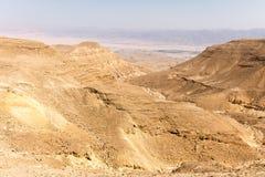 Abandonnez la vue de paysage de vallée de montagnes, nature de déplacement de l'Israël Image stock