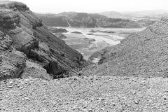 Abandonnez le b&w de paysage de vallée de montagnes, nature de déplacement de parc Photo stock