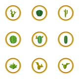 Abandonnez le cactus, icônes réglées, style de bande dessinée Images libres de droits
