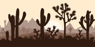 Abandonnez le modèle sans couture avec les arbres de Joshua, l'opuntia, et le saguaro Photographie stock
