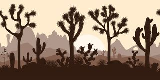 Abandonnez le modèle sans couture avec les arbres de Joshua, l'opuntia, et le saguaro Photo libre de droits