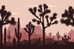 Abandonnez le modèle sans couture avec les arbres de Joshua, l'opuntia, et le saguaro Illustration Stock