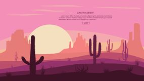 Abandonnez le paysage Cactuse et les montagnes, le coucher du soleil dans le canon, la scène de fond avec des pierres et le sable Image stock