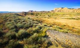 Abandonnez le paysage du parc naturel de reales de bardenas en été Photo stock