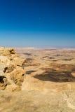 Abandonnez le paysage, Makhtesh Ramon dans le désert du Néguev, Israël Photographie stock libre de droits