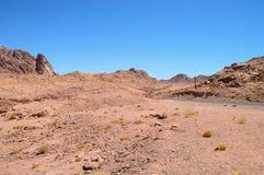 Abandonnez le paysage, montagnes de grès rouge, une plaine couverte de végétation rare de désert, un tronçon de route avec Photographie stock libre de droits