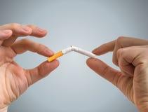 Abandono de concepto que fuma Las manos están rompiendo el cigarrillo por la mitad Imágenes de archivo libres de regalías