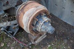Abandono por años y viejos mohos de los camiones Interior del coche viejo abandonado Fotografía de archivo
