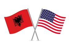 Abanian and American Flags.Vector illustration. Stock Photos