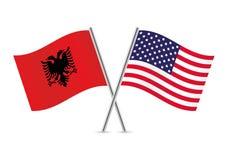 Abanian y banderas americanas Ilustración del vector Fotos de archivo