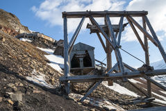 Abanodoned煤矿驻地在朗伊尔城,斯瓦尔巴特群岛 免版税库存照片