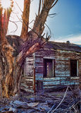Abandoned blue house in Mojave National preserve with sun shinin Royalty Free Stock Image