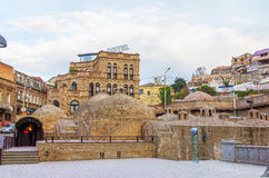 Abanotubani is the ancient district of Tbilisi, Georgia. Traditional georgian architecture in the old town of Tbilisi - Georgia Stock Image